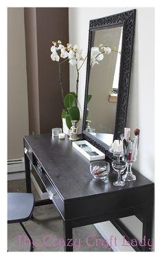 vanity using ikea desk | ikea desk - turned vanity - The Crazy Craft Lady