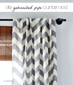Love these galvanized pipe curtain rods. Such a great idea for window treatments.