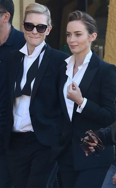 Cate Blanchett and Emily Blunt from The Big Picture: Today's Hot Pics The duo suits up for a scene while filming a shoot for the International Watch Company in Portofino, Italy. Estilo Tomboy, Tomboy Stil, Emily Blunt, Diva Style, My Style, Hair Style, Boutique Style, Tomboy Fashion, Fashion Outfits