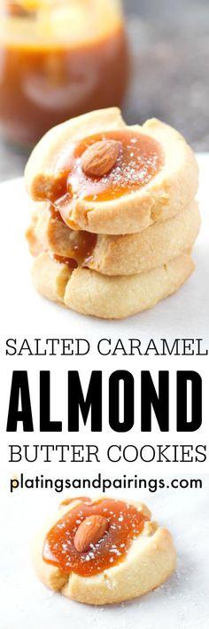 Salted Caramel Almond Thumbprint Butter Cookies | platingsandpairings.com #ad