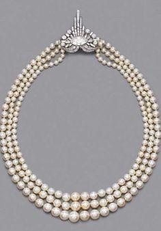 Art Deco Pearl And Diamond Necklace c.1925