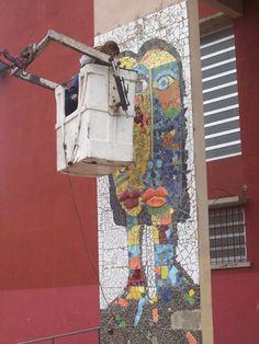 Mural para la escuela secundaria de Monte Rincon. Taller de mosaico. Villa Gesell