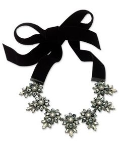 INC Hematite-Tone Black Velvet Crystal Cluster Choker Necklace, Created for Macy's - Silver
