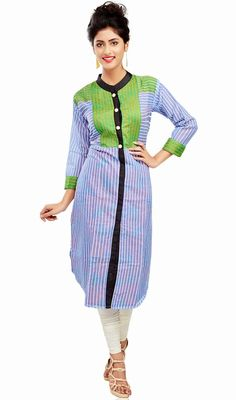 Lime green and blue cotton kurti is a straight cut formal kurti. Tunic has horizontal block print in the yoke and vertical print in the rest of the kurti and green fabric is in yoke, shoulder patch and sleeves cuff which gives you an elegant look. #ClassicalTunic