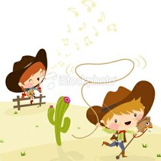 Cowboys, Illustration, Vector. minimil Royalty Free Stock Vector Art Illustration