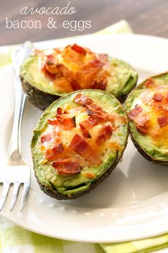 Baked avocado with eggs and BACON - yes please!