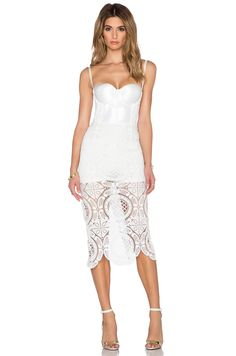 Misha Collection Flora Crochet Dress in Pearl White | REVOLVE