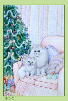 ❤️Cute White Kittens ~ Artist Debbie Cook