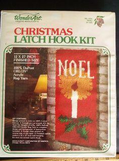 "Wonder Art Christmas 4791 Latch Hook Rug Kit NOEL 12""x 27"" VINTAGE=Free USA Ship #WonderArt"