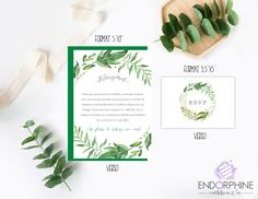 Invitation végétale verso Endorphine, Version imprimable Place Cards, Invitation, Place Card Holders, Etsy, Printable, Invitations, Reception Card