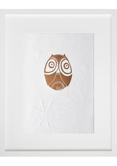 bronze owl woodcut on embossed paper by annie smits sandano. gorgeously cute!