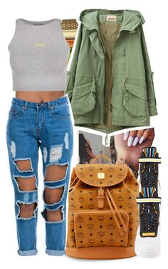 """$"" by yngshorty ❤ liked on Polyvore featuring Timex, MCM, NIKE and Free People"