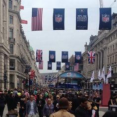 Just a little bit busy at the block party #NFL  #RegentStreet - @rhiannamclean  - A great atmosphere on #RegentStreet