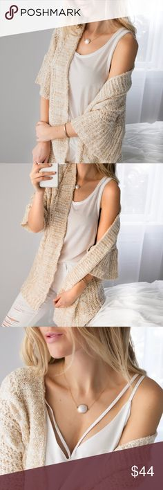 🆕Spring Cable Knit ◽️Beach chic! 🐚This knit is gorgeous going into the Spring with its kimono sleeves and soft beige cream color blend. Comfy and high quality. Perfect over an all white outfit. Acrylic. Brand new.  ▫️Complete the outfit with my White Ripped Skinnys, Raw Edge Tank, Sunset Cami  ▫️Price is firm, no offers 📷 Photos are my own Sweaters