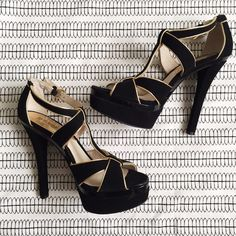 """MICHAEL KORS """"Gideon"""" Suede Platforms Gorgeous MK heels with gold trim and black suede. Haven't actually worn them out, as you can see by the condition of the heel. Bought them and tried them on with a few outfits. They are SO FABULOUS and super comfortable(I only buy comfy shoes!)!!!❤️❤️❤️ Michael Kors Shoes Platforms"""