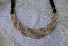 Necklace Crochet Unique in silver and gold jewelry by lenkamuchnik, $460.00