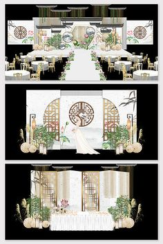 New Chinese style rhyme ink wedding stage renderings Chinese Wedding Decor, Chinese Theme, New Chinese, Welcome Background, Wedding Background, Indian Wedding Receptions, Wedding Mandap, Wedding Stage Design, Wedding Stage Decorations
