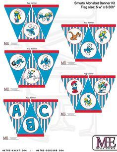 Smurfs Banner Full Alphabet Banner Smurfs Banner by MetroEvents