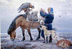 Kazakh Berkutchee, Betpak-Dala Winter, by Vadim Gorbatov
