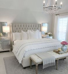25 Exquisitely Admirable Modern French Bedroom Ideas To Steal. modern french bedroom Check out these fascinating modern French bedroom ideas to bring the style of your home to a whole new level! Master Bedroom Design, Dream Bedroom, Home Decor Bedroom, Bedroom Designs, French Bedroom Decor, Bedroom Decor Elegant, Light Master Bedroom, Neutral Bedroom Decor, Mirrored Bedroom