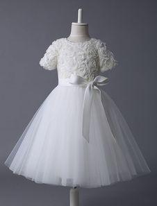 Ivory Knee-Length Sash Tulle Flower Girl Dress