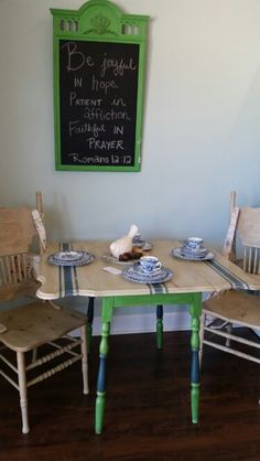 An antique drop leaf table finished in Country Grey, Antibes Green and Napoleonic Blue Chalk Paint® decorative paint by Annie Sloan Milk Paint Furniture, Kids Furniture, Painted Furniture, Blue Chalk Paint, Using Chalk Paint, Rustic Country Furniture, Refurbished Chairs, Antibes Green, Napoleonic Blue