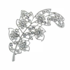 """Curved leaf brooch with crystal.  3 1/8"""" long."""