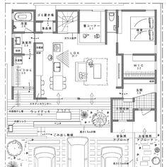 写真の説明はありません。 Japanese Architecture, Architecture Plan, Concept Board, Sims House, Japanese House, House Layouts, Plan Design, Laundry Room, House Plans