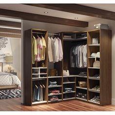 Cielo by Bestar Classic Corner Walk-In Closet (Oak Barrel/White), Brown(Laminate) Corner Closet, Front Closet, Walk In Closet, Closet Space, Shoe Closet, Corner Wardrobe, Open Wardrobe, Closet Office, Wardrobe Closet