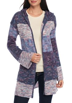 New Directions® Multi Color Stripe Hooded Cardigan