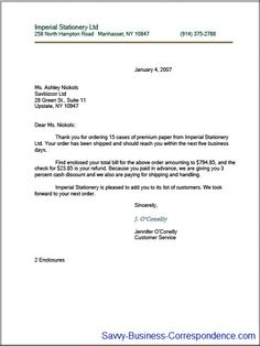 Indented business letter format.