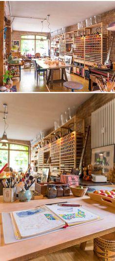Studio Gosha of Fine Arts, Potsdam, Germany, photo by ©Torsten Fritsche. I want my art room in my house too look like this Home Art Studios, Art Studio At Home, Artist Studios, Craft Studios, Art Studio Spaces, Art Spaces, Rangement Art, Art Studio Design, Design Studios