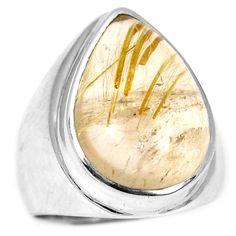 Golden Rutile 925 Sterling Silver Ring Jewelry s.6 GRUR826 - JJDesignerJewelry