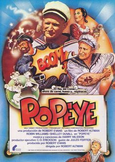 Popeye movie Robin Williams- Another great movie Robin Williams will be remembered for! Old Movies, Vintage Movies, Great Movies, Robert Altman, Robert Evans, Best Movie Posters, Movie Poster Art, Cinema Posters, Film Posters