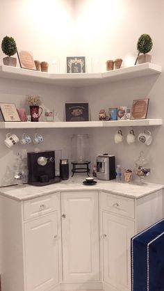 Ideas kitchen corner shelves decor coffee stations, Home coffee stations, Coffee Station Kitchen, Coffee Bars In Kitchen, Coffee Bar Home, Home Coffee Stations, Kitchen Corner, Diy Kitchen, Kitchen Decor, Corner Bar, Coffe Corner