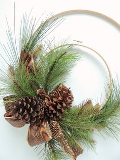 Embroidery Hoop Wreath Gold Pine Woodland by ToHaveandToHolder