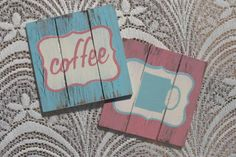 Mossie Crafts - Our Products - Distressed Photo Frames - Distressed Wooden Placemats - Distressed Wood Coasters Wood Crafts, Diy Crafts, Wooden Coasters, Distressed Wood, How To Distress Wood, Pastel Colors, Pastels, Vintage Decor, Teacher Gifts