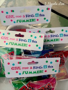 "Make these end of school year printable treat bags--""Give me a ring this summer!"" on the topper, along with your child's contact information on the back, so friends can keep in touch during the summer months.  Fill the goody bag with Ring Pops."