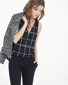 windowpane zip front tank from EXPRESS