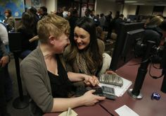 … and celebrating each step of the way like Elenor Heyborne and her partner Marina Gomberg -45 Moving Moments From The First Days Of Marriage Equality In Utah