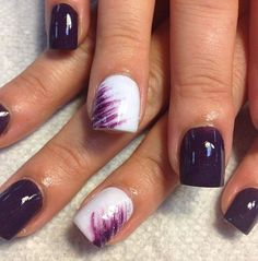 Trendy Purple Nail Art Designs You Have to See Dark Purple and White Design for Short Nails.Dark Purple and White Design for Short Nails. Get Nails, Fancy Nails, Love Nails, How To Do Nails, Trendy Nails, Gorgeous Nails, Sparkle Nails, Nagellack Party, Purple Nail Art