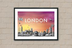 LONDON - Travel Poster - London Poster - City Poster - Sunset - City Sunset - Home Decor - British - Union Jack - Britain - Wall Art - Queen by ArtyPrintsBoutique on Etsy