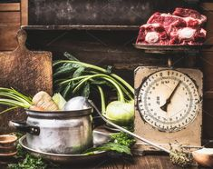 Meat soup cooking preparation by VICUSCHKA on @creativemarket