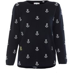 Chinti and Parker Navy And Cream Anchor Sweater ($550) ❤ liked on Polyvore featuring tops, sweaters, navy, navy sweater, navy cashmere sweater, j.crew cashmere sweaters, crew neck knitwear and navy blue sweater