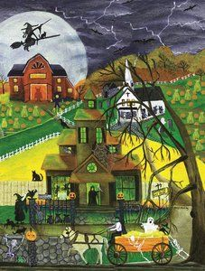 Haunted Hayride 500 Piece Jigsaw Puzzle by SunsOut Halloween Puzzles, Halloween Art, Vintage Halloween, Sunsout Puzzles, Haunted Hayride, Witch House, 500 Piece Puzzles, Macabre, Folk Art