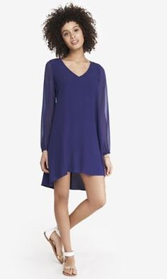 blue chiffon sleeve hi-lo hem dress from EXPRESS I think this is the one I tried on in x-small, it was cute :)