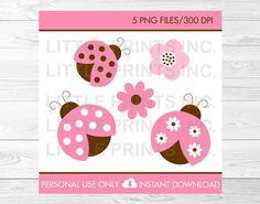 Pink Ladybug Clipart INSTANT DOWNLOAD