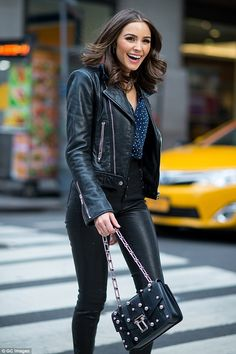 Biker girl: The former beauty queen, showed off her long lithe limbs in a leather ensemble, despite the wintry climate Fashion leather articles at 60 % wholesale discount prices Olivia Culpo, Look Fashion, Autumn Fashion, Business Casual Outfits For Work, Girl Outfits, Fashion Outfits, Rocker Style, Winter Mode, Biker Girl