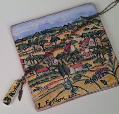 Abstract Ceramic Tile Pendant of  Italy and Feather by bonnieline, $30.00