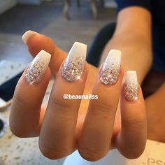 Beautiful Nails on Short and cute . The glitter is much more sparkle in real life! Hope you all have a lovely sunny Sunday Glitter Tip Nails, Cute Acrylic Nails, White Nails With Glitter, Acrylic Nail Designs Glitter, Gold Sparkle Nails, Silver Acrylic Nails, Silver Sparkly Nails, Sparkly Nail Designs, Silver Tip Nails